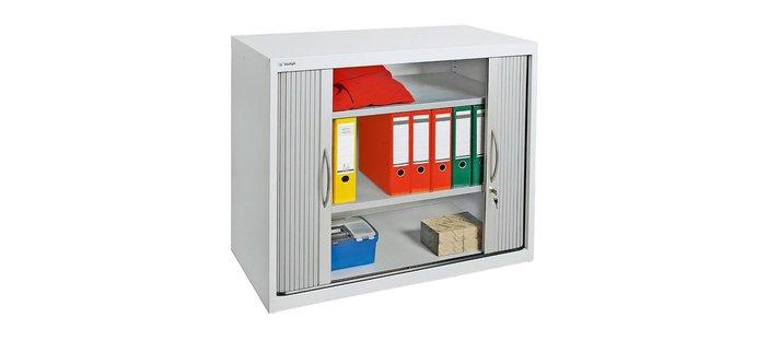Equipment cabinets with roller shutter doors and sliding doors