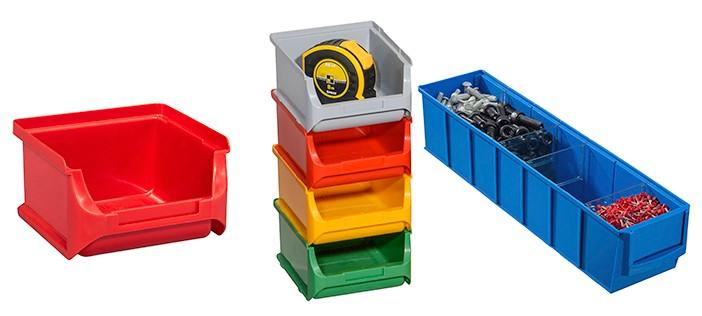Open fronted storage bins and shelving bins