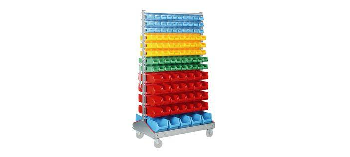 Shelving with open fronted storage bins