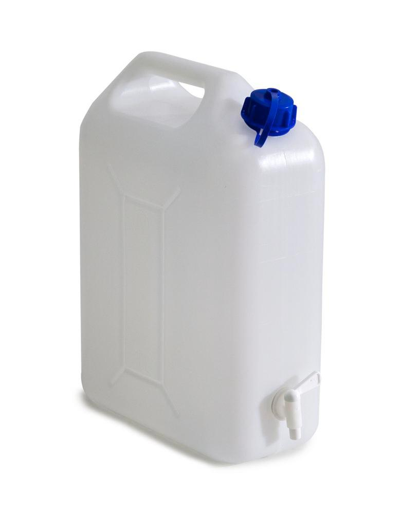 Canister, polyethylene, including dispensing tap, 20 litre capacity