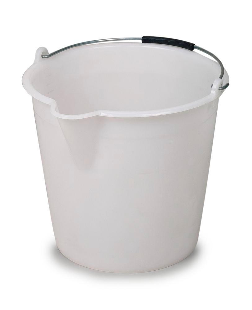 Plastic bucket, made from polyethylene, 9 litres capacity, white