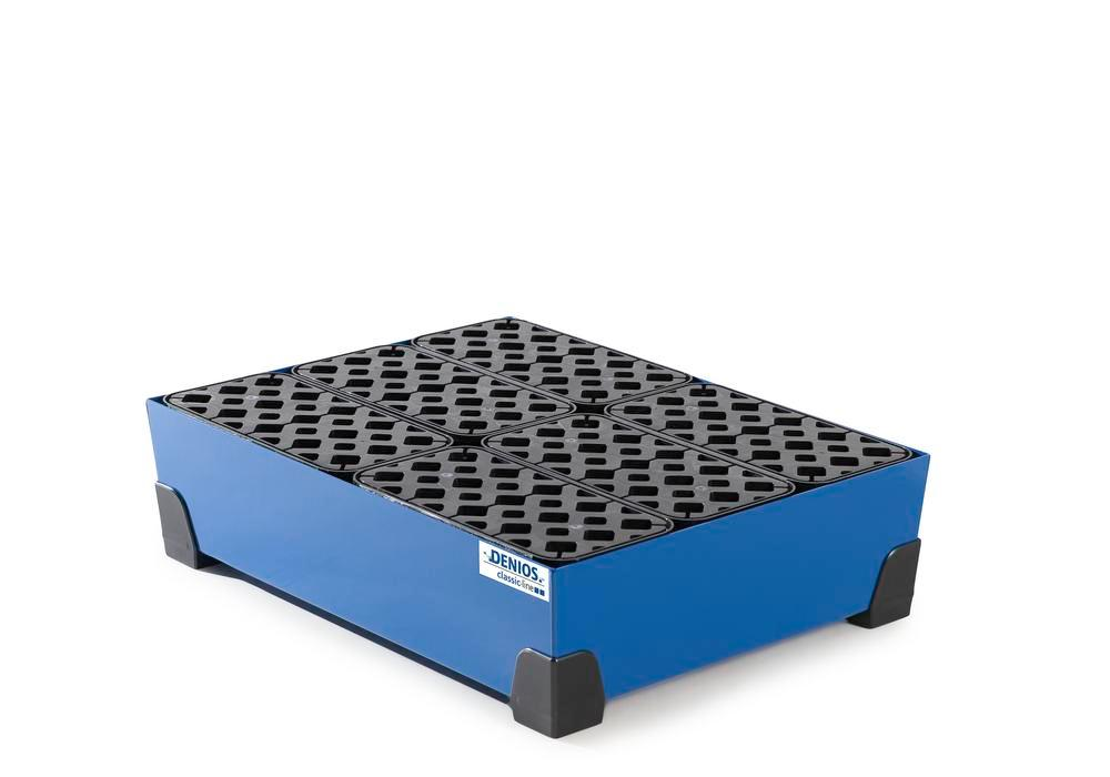 Spill tray for small containers classic-line in steel, painted, with PE grid, 76 litre, 774x584x200