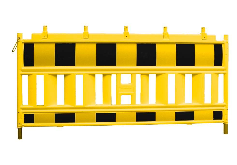 Barrier fence Euro 1 to ZTV-SA, W 2000 mm, yellow black with lamp adapter