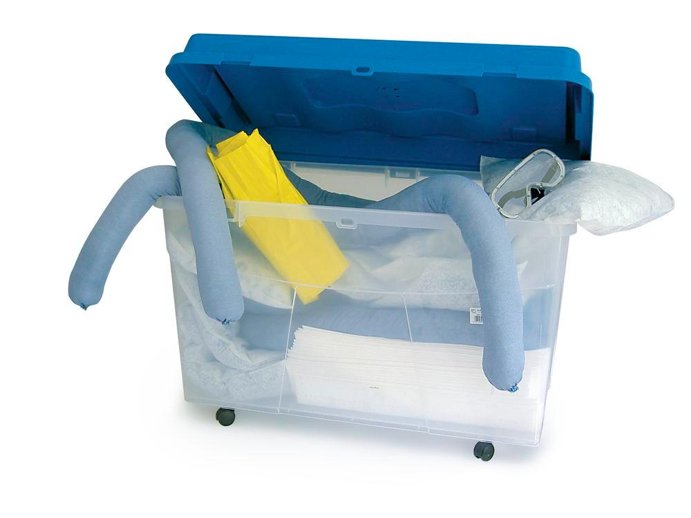 DENSORB Emergency Spill Kit in Transparent Box with castors, application OIL