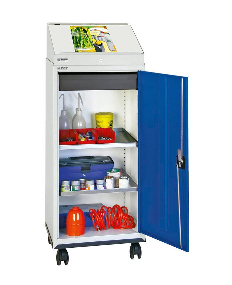 Desk with cabinet, with 1 writing desk, 1 drawer, 2 shelves, grey/blue with roller base, W 500 mm
