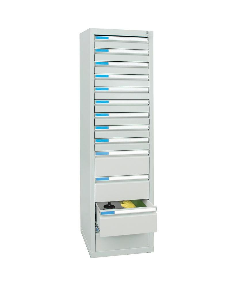 Drawer cabinet Esta with 13 drawers, grey, W 500 mm, H 1800 mm
