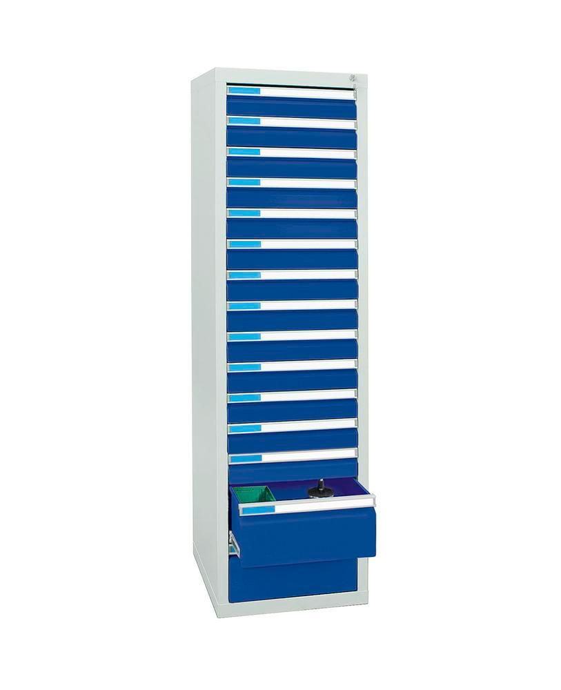 Drawer cabinet Esta with 15 drawers, grey/blue, W 500 mm, H 1800 mm