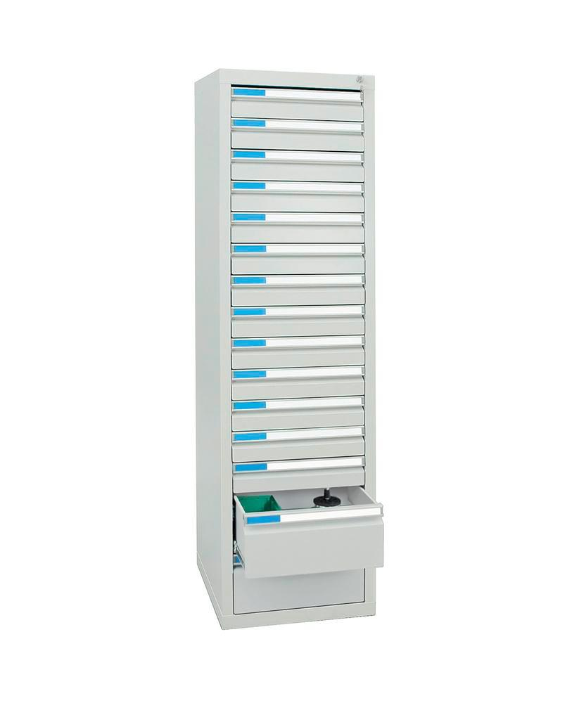 Drawer cabinet Esta with 15 drawers, grey, W 500 mm, H 1800 mm