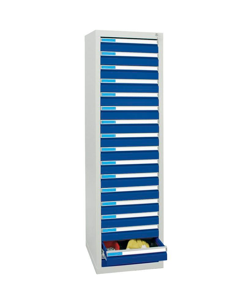 Drawer cabinet Esta with 17 drawers, grey/blue, W 500 mm, H 1800 mm
