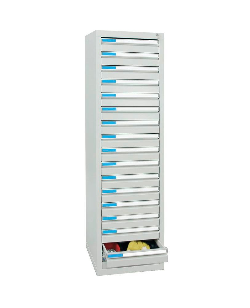 Drawer cabinet Esta with 17 drawers, grey, W 500 mm, H 1800 mm