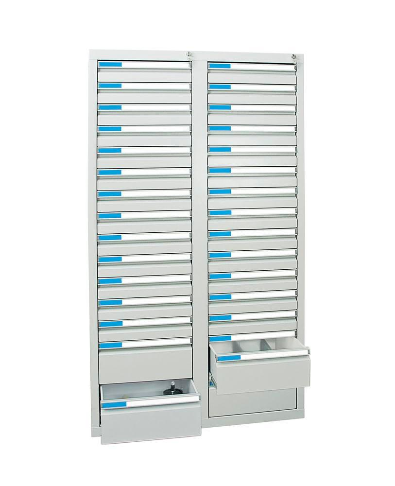 Drawer cabinet Esta with 30 drawers, grey, W 1000 mm, H 1800 mm