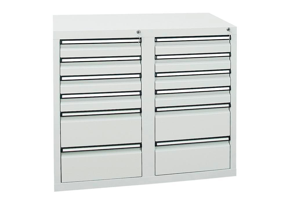 Drawer cabinet Model SDC 410, with 12 drawers, light grey, W 1000 mm, H 900 mm