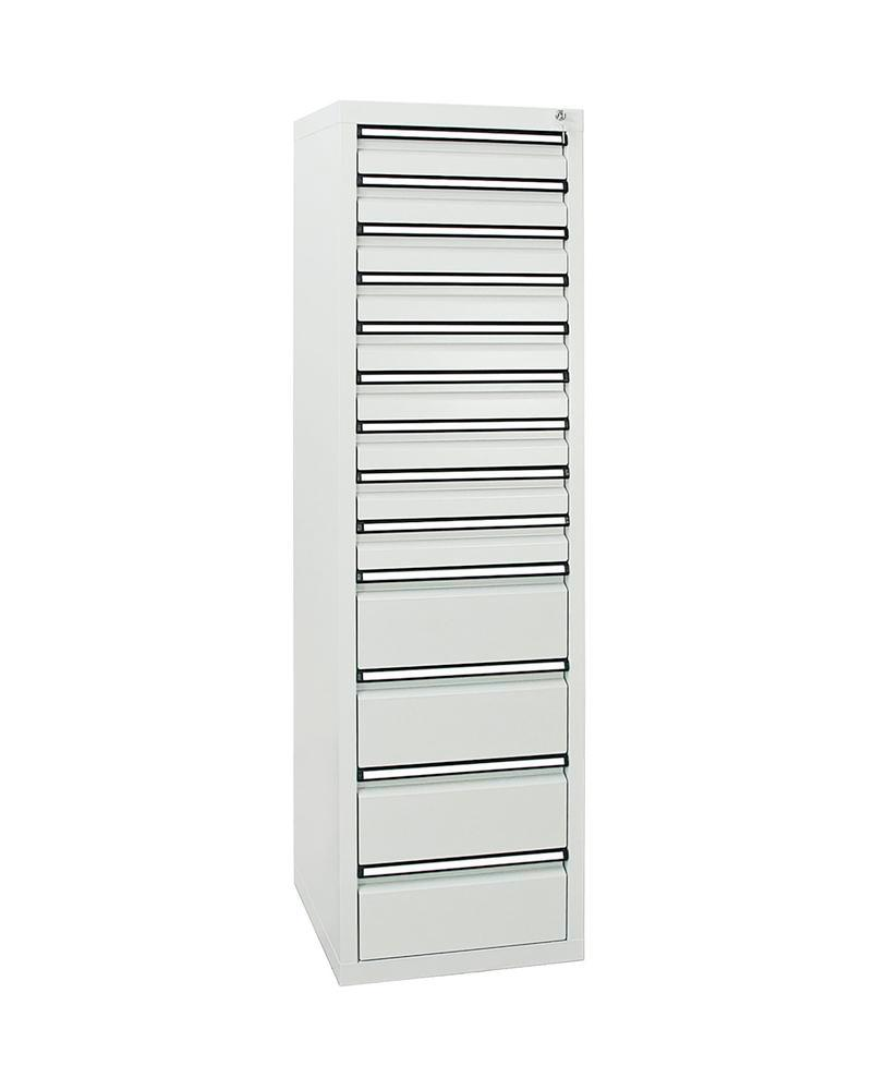 Drawer cabinet Model SDC 410, with 13 drawers, light grey, W 500 mm, H 1800 mm