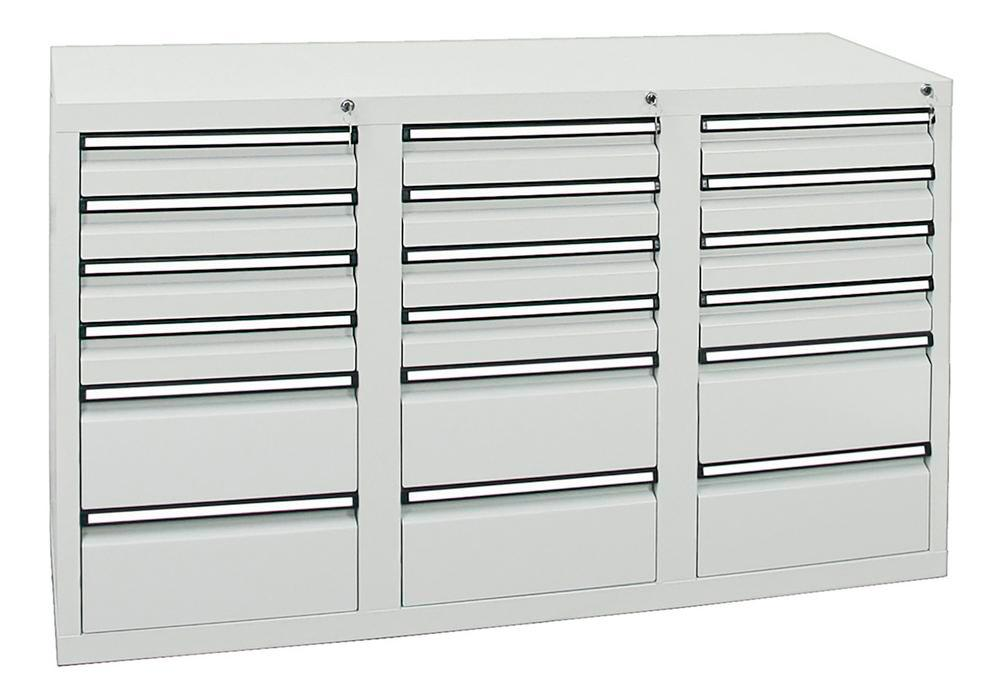 Drawer cabinet Model SDC 410, with 18 drawers, light grey, W 1500 mm, H 900 mm, H 900 mm - 1
