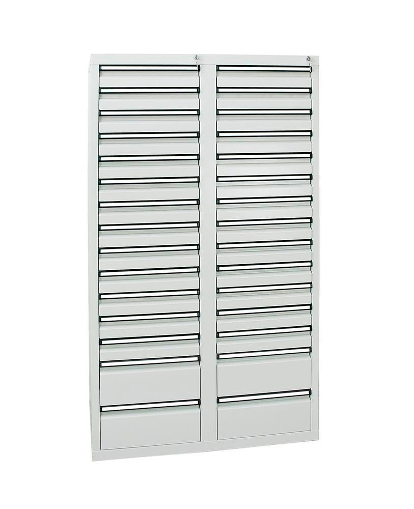 Drawer cabinet Model SDC 410, with 30 drawers, light grey, W 1000 mm, H 1800 mm