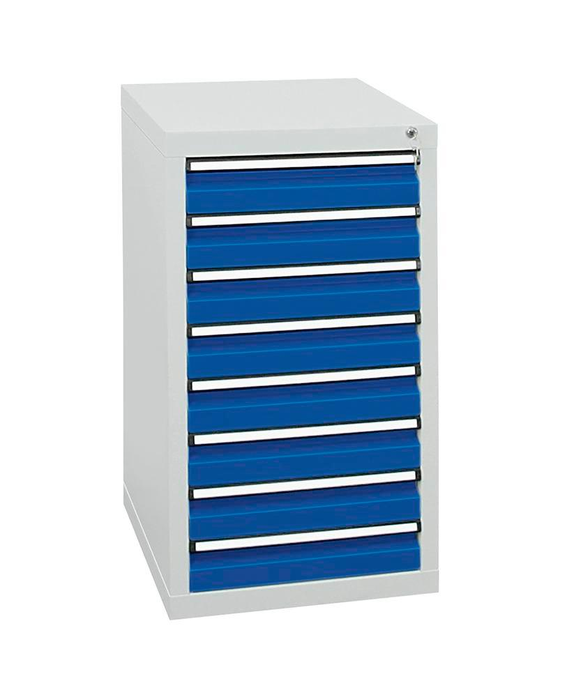 Drawer cabinet Model SDC 410, with 8 drawers, light grey/light blue, W 500 mm, H 900 mm