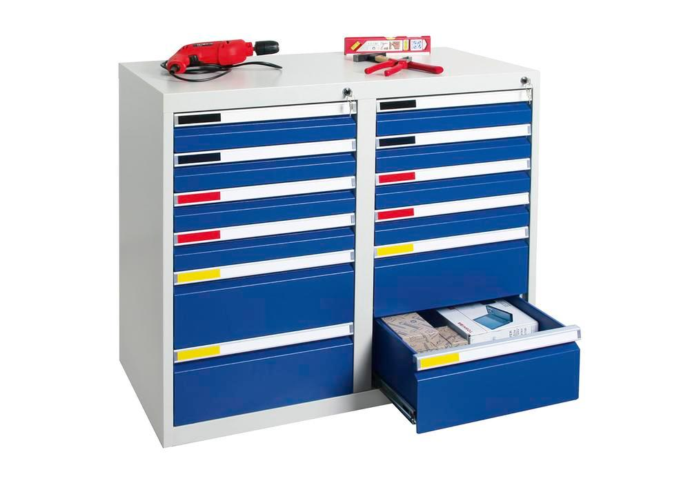 Drawer cabinet Movaflex 500, 12 drawers, light grey/gentian blue, W 1000 mm, H 900 mm