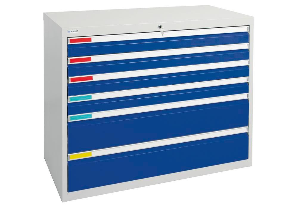 Drawer cabinet Movaflex 500, 6 drawers, light grey/gentian blue, W 1000 mm, H 900 mm - 1