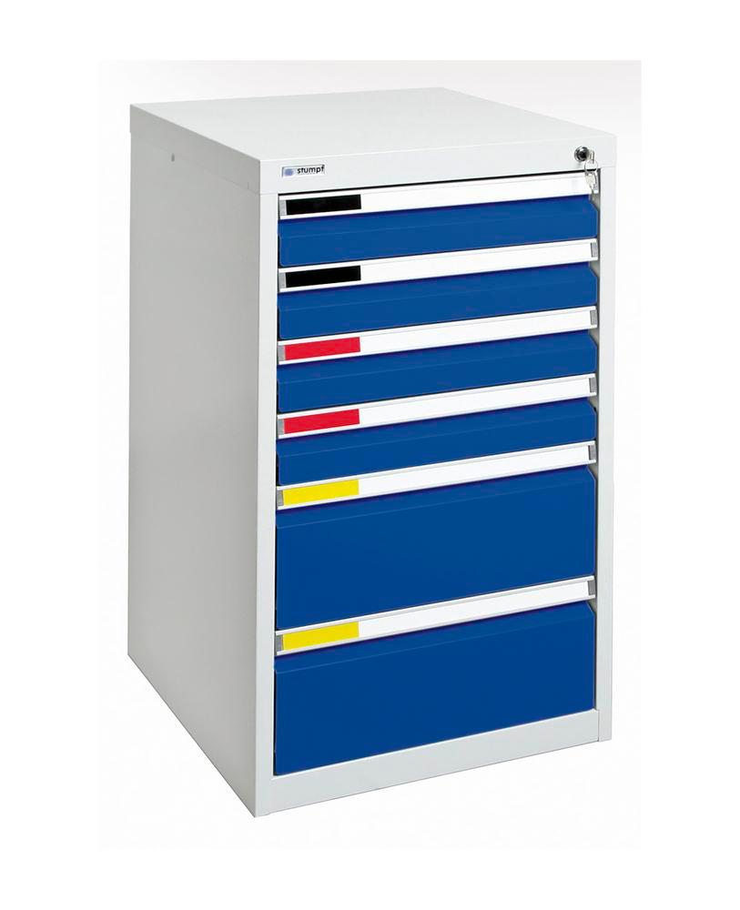 Drawer cabinet Movaflex 500, 6 drawers, light grey/gentian blue, W 500 mm, H 900 mm