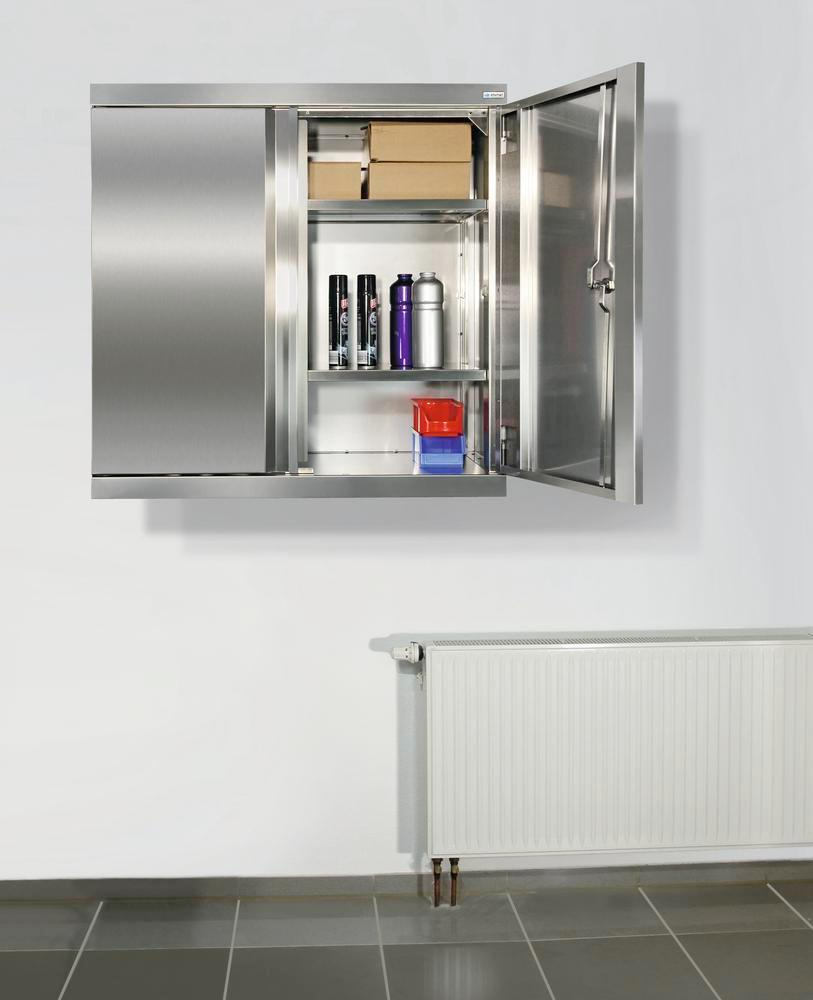 Multipurpose wall mounted cabinet Multinox-Plus, stainless steel, 2 shelves, W 900 mm