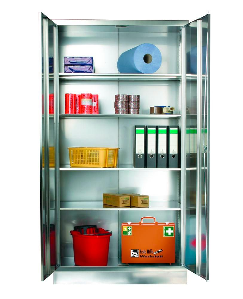 Stainless steel cabinet with 4 shelves, W 1000, D 500, H 1950 mm
