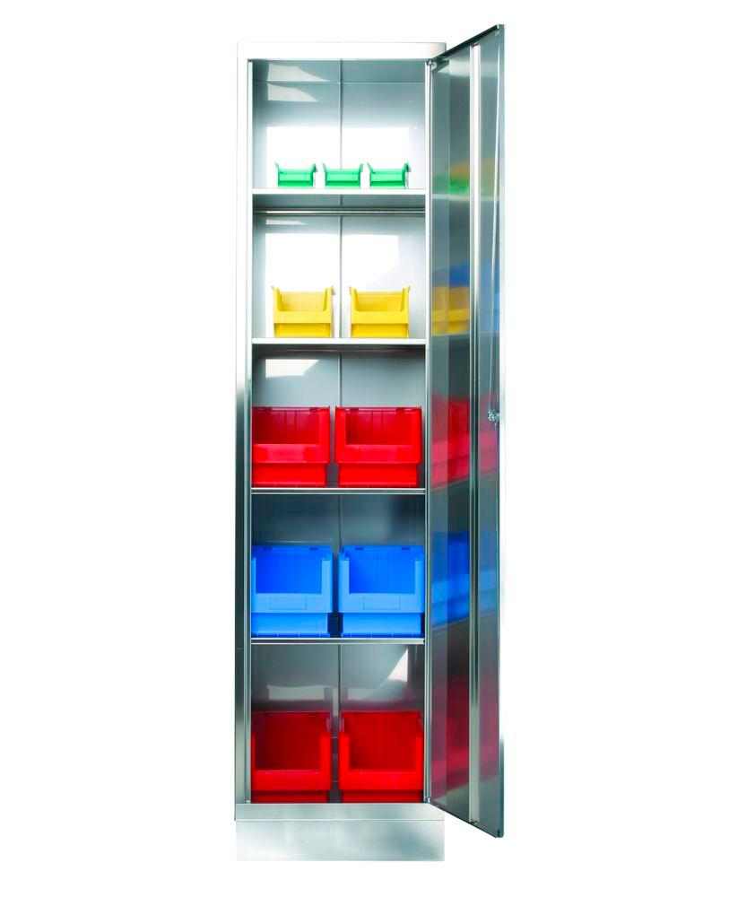 Stainless steel cabinet with 4 shelves, W 500, D 600, H 1950 mm