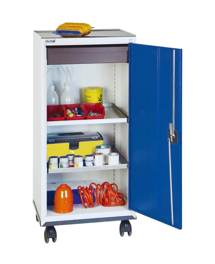 Tool and equipment cabinet Professional 3000, 1 drawer, 2 spill trays, grey/blue, W 500 mm