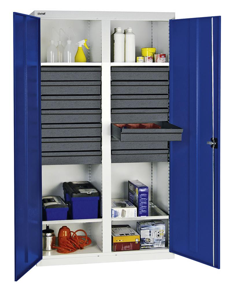 Tool and equipment cabinet Professional 3000, 14 drawers, 4 spill trays, grey/blue, W 1000 mm