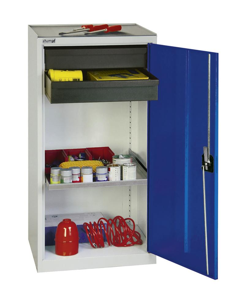 Tool and equipment cabinet Professional 3000, 2 drawers, 1 spill tray, grey/blue, W 500 mm