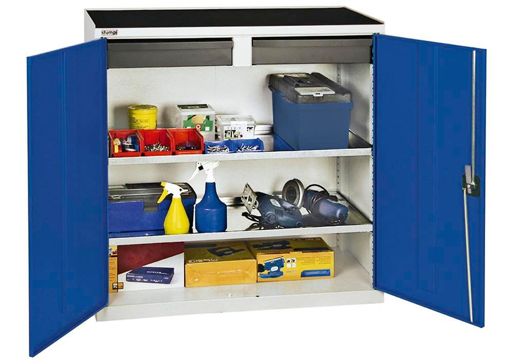 Tool and equipment cabinet Professional 3000, 2 drawers, 2 spill trays, grey/blue, W 1000 mm