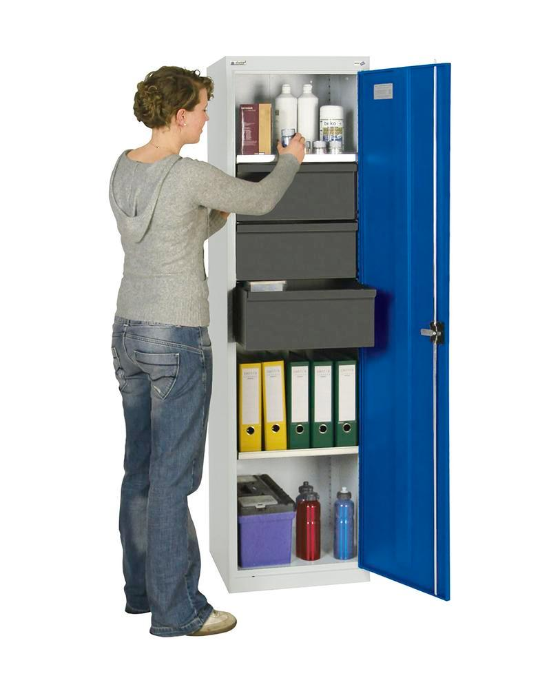 Tool and equipment cabinet Professional 3000, 3 drawers, 3 spill trays, grey/blue, W 500 mm