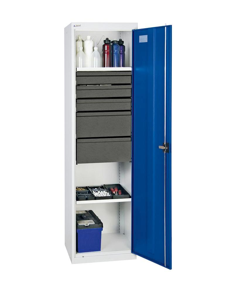 Tool and equipment cabinet Professional 3000, 5 drawers, 2 spill trays, grey/blue, W 500 mm