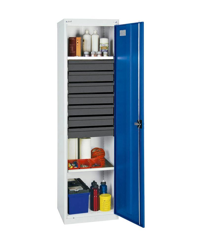 Tool and equipment cabinet Professional 3000, 7 drawers, 2 spill trays, grey/blue, W 500 mm