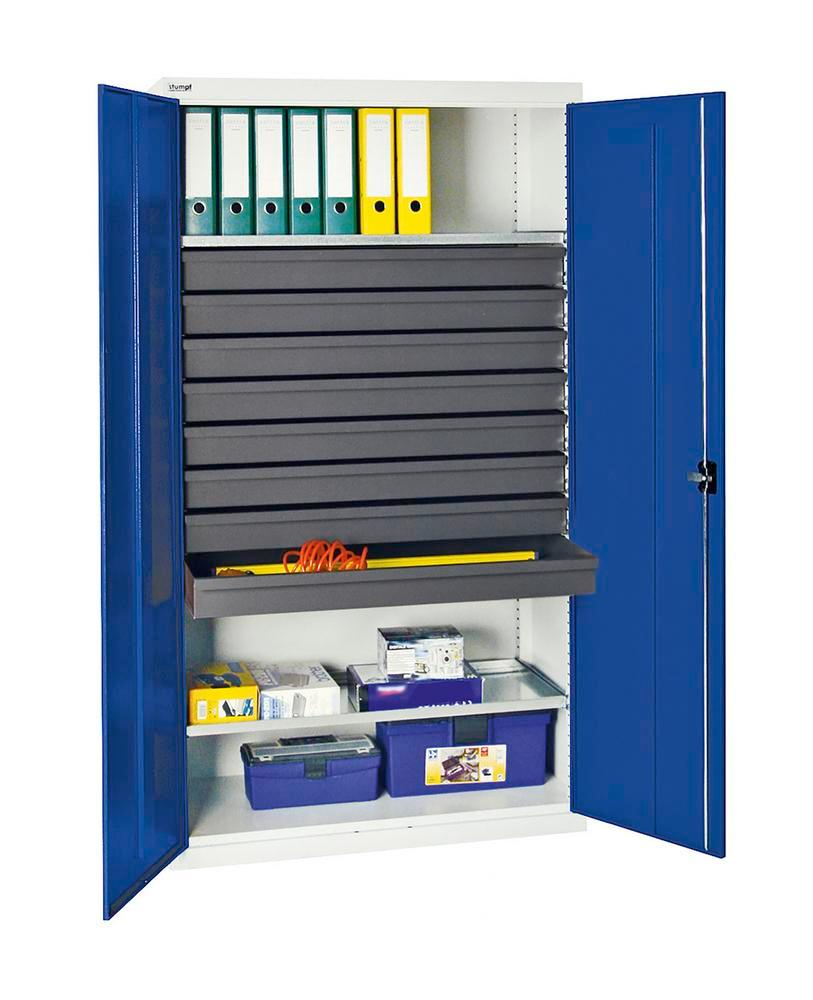 Tool and equipment cabinet Professional 3000, 8 drawers, 2 spill trays, grey/blue, W 1000 mm