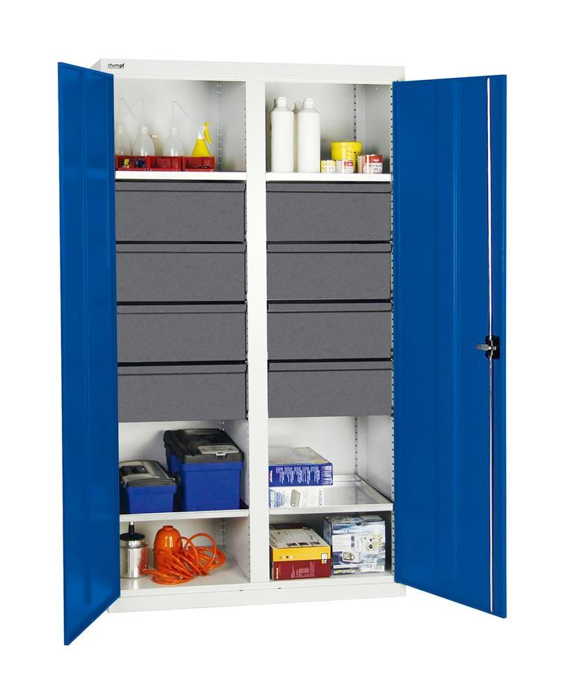 Tool and equipment cabinet Professional 3000, 8 drawers, 4 spill trays, grey/blue, W 1000 mm