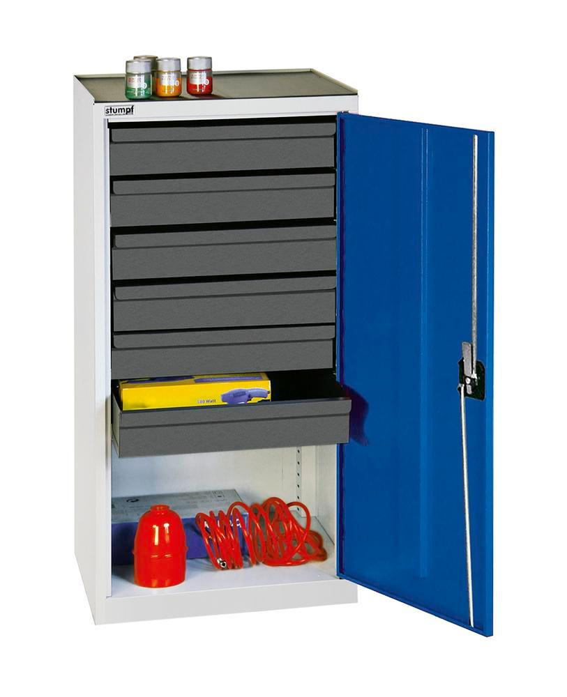 Tool and equipment cabinet Professional 3000, with 6 drawers, grey/blue, W 500 mm