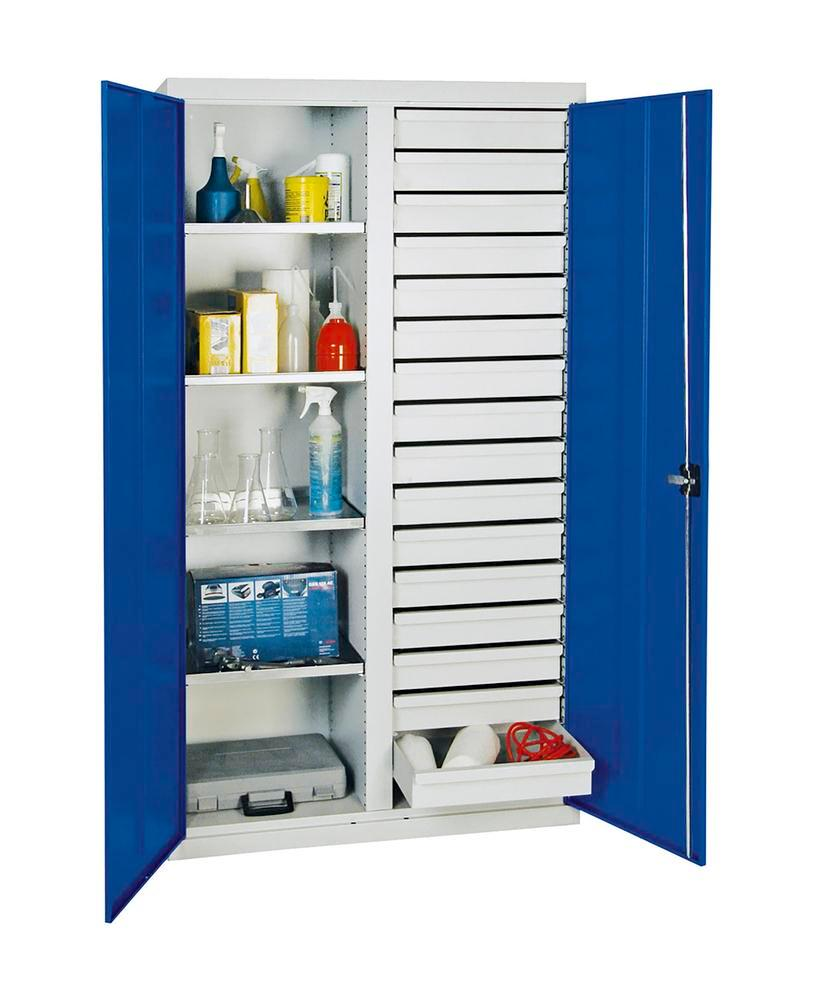 Tooling and equipment cabinet Professional 2000, 16 drawers and 4 shelves, grey/blue, W 1000 mm