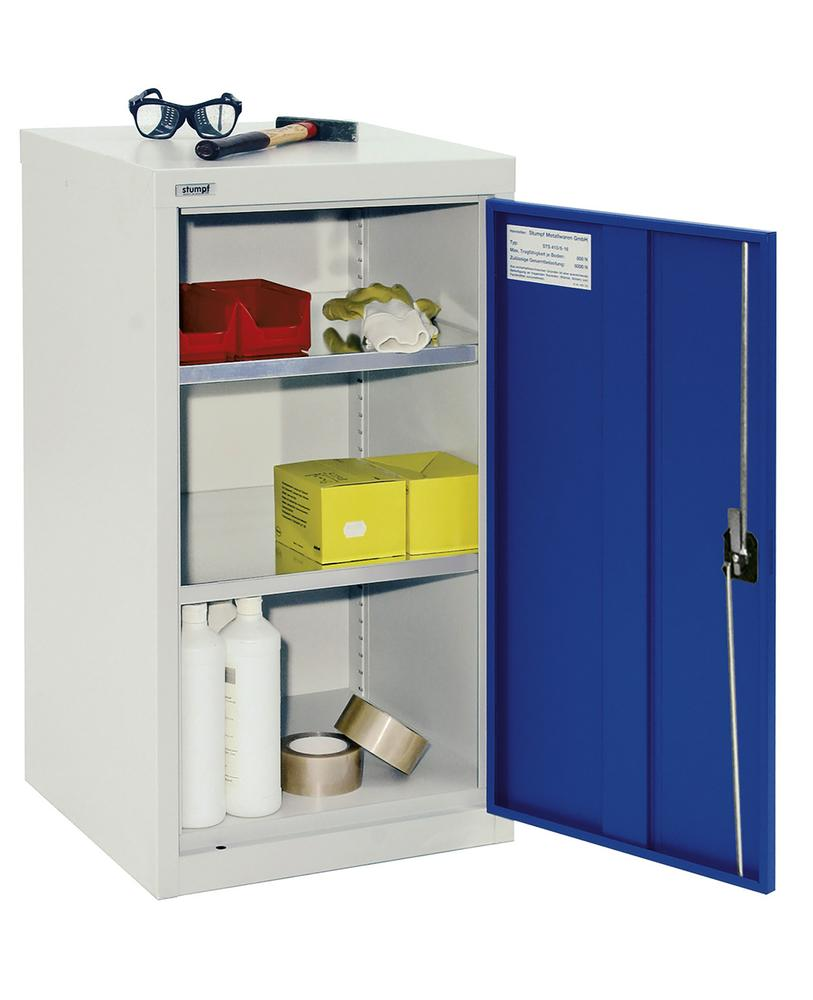 Wing door cabinet Esta, 2 galv. shelves body light grey, door blue, W 500 mm, H 900 mm