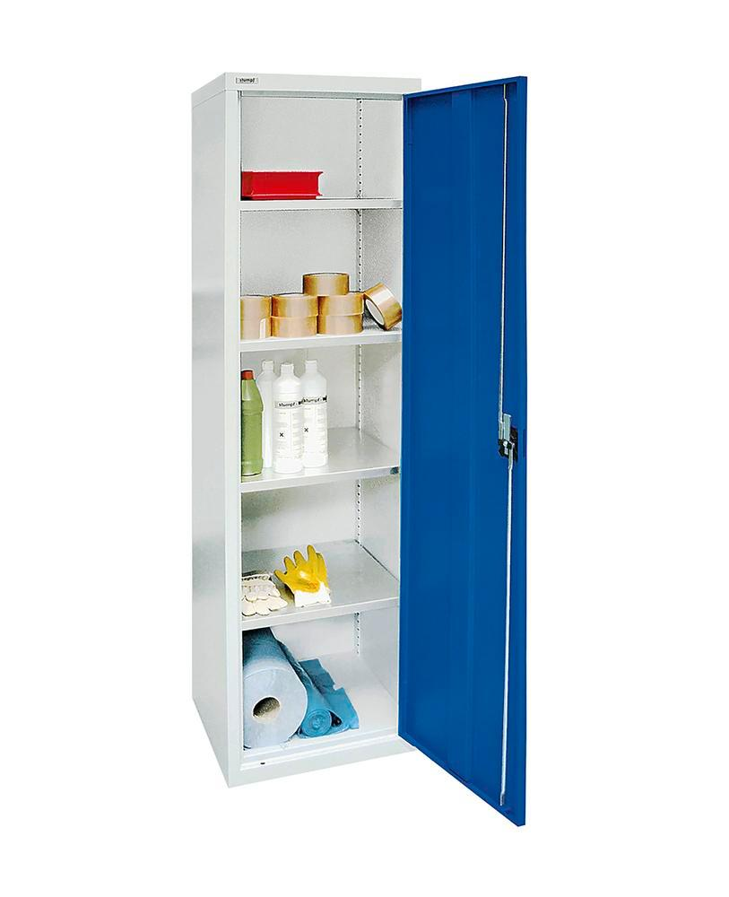 Wing door cabinet Esta, 4 galv. shelves body light grey, door gentian blue, W 500 mm, H 1800 mm