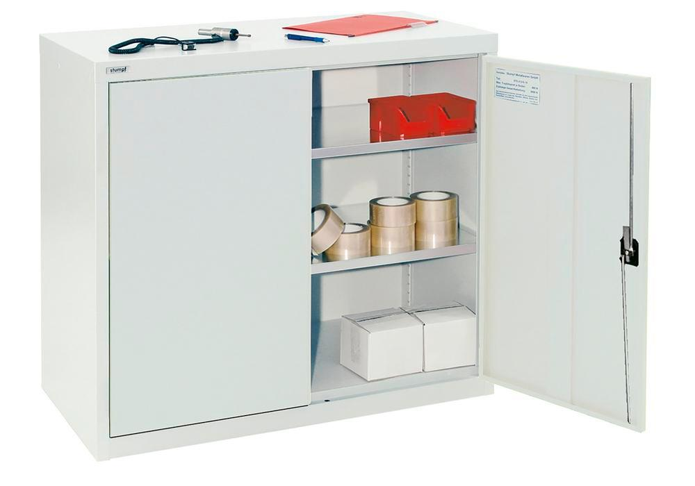 Wing door cabinet Esta, with 2 galv. shelves, body and doors light grey, W 1000 mm, H 900 mm