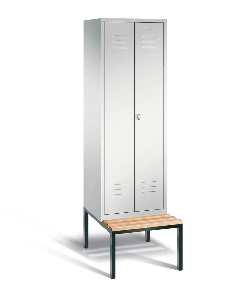 Double locker with bench Cabo, 2 compartments, W 610, H 2090, D 500/815, grey/grey
