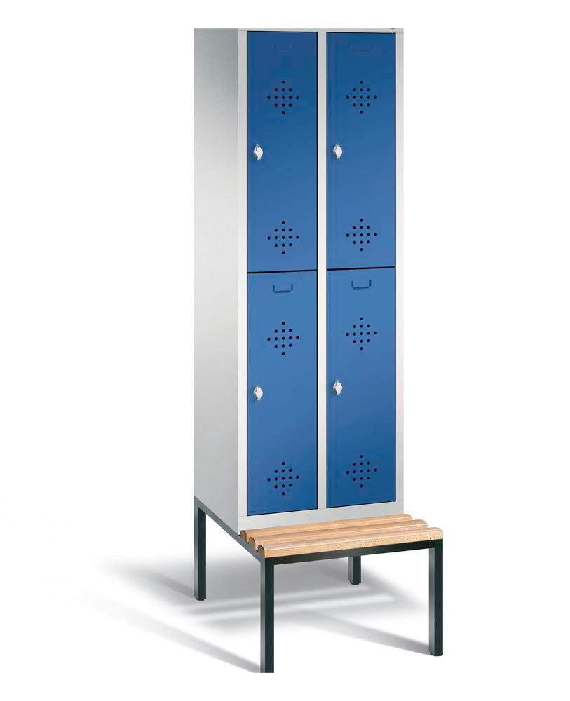 Double locker with bench Cabo, 4 compartments, W 610, H 2090, D 500/815, grey/blue