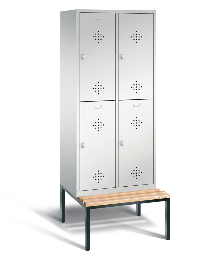 Double locker with bench Cabo, 4 compartments, W 810, H 2090, D 500/815, grey/grey
