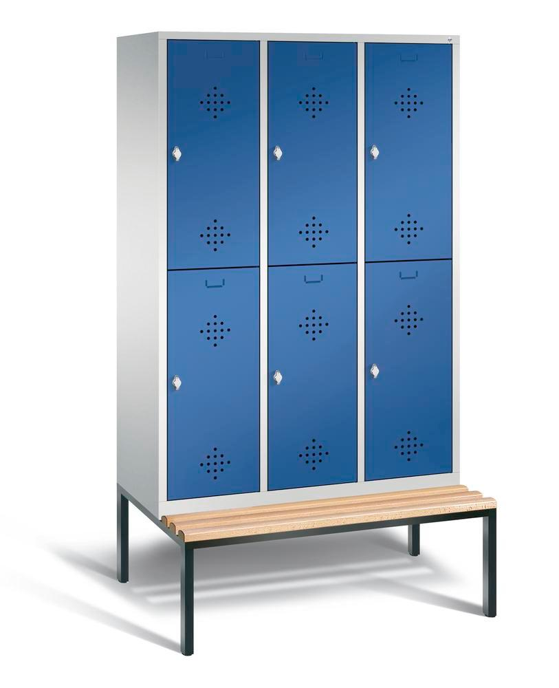 Double locker with bench Cabo, 6 compartments, W 1200, H 2090, D 500/815, grey/blue
