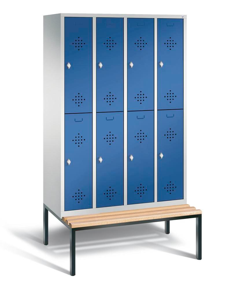 Double locker with bench Cabo, 8 compartments, W 1190, H 2090, D 500/815, grey/blue