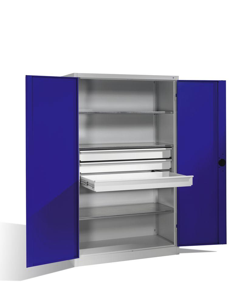 Heavy duty tool st cabinet Cabo, wing doors, 3 shelves, 3 draws, W 1200, D 600, H 1950 mm, grey/blue