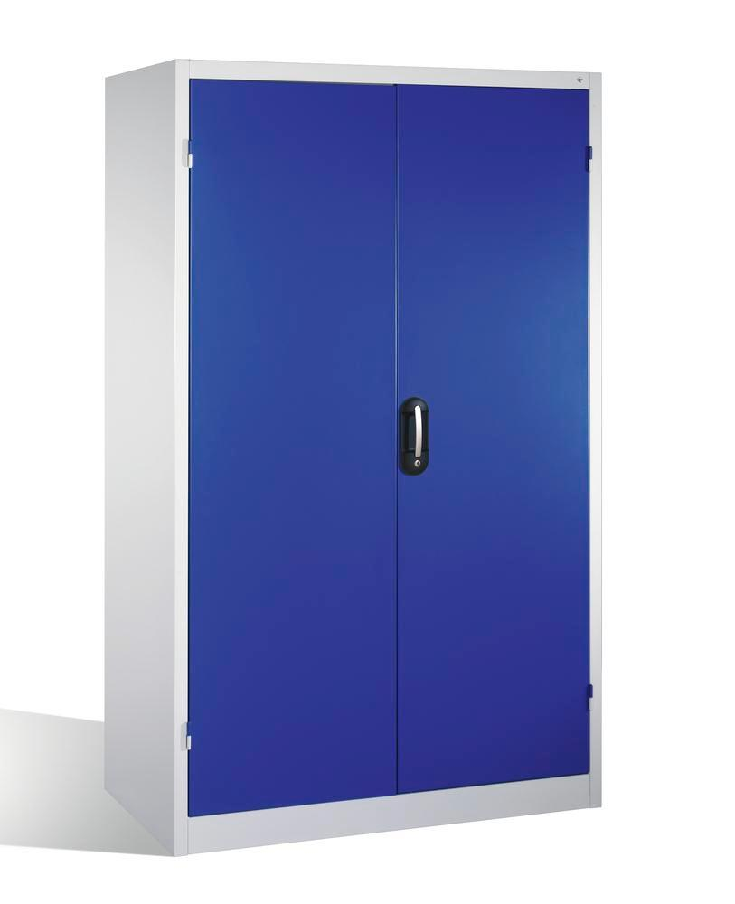 Heavy duty tool st cabinet Cabo, wing doors, 4 shelves, 3 draws, W 1200, D 600, H 1950 mm, grey/blue