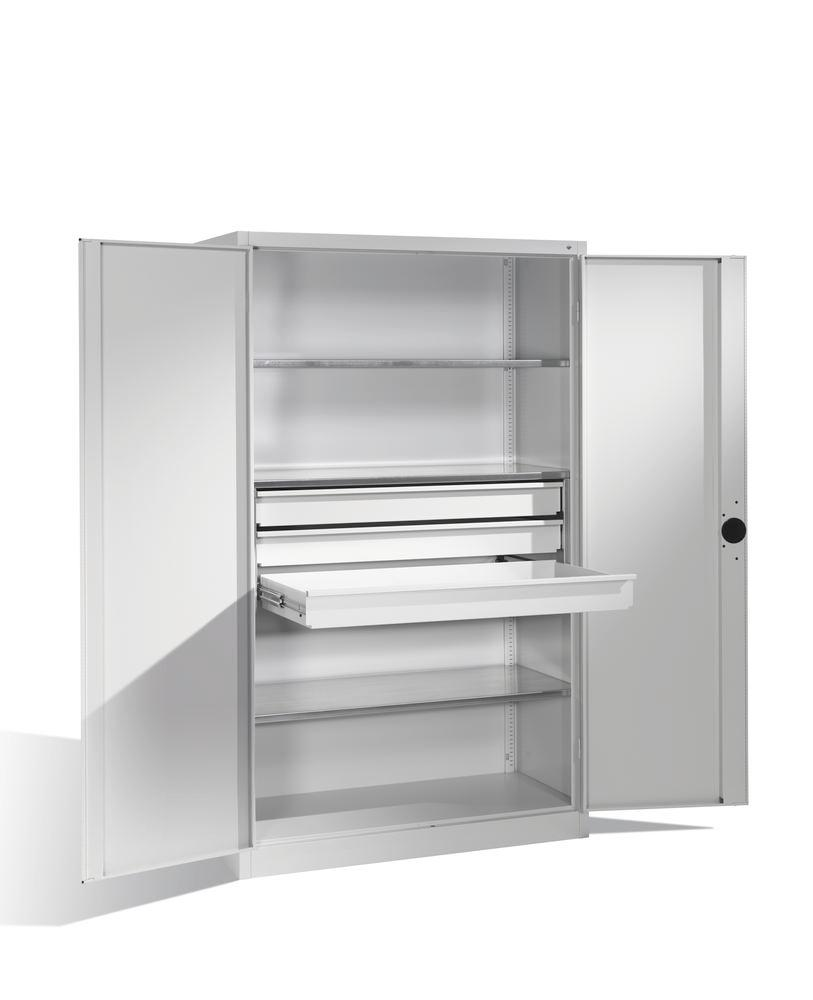 Heavy duty tool storage cabinet Cabo, wing doors, 3 shelves, 3 draws, W 1200, D 500, H 1950 mm, grey