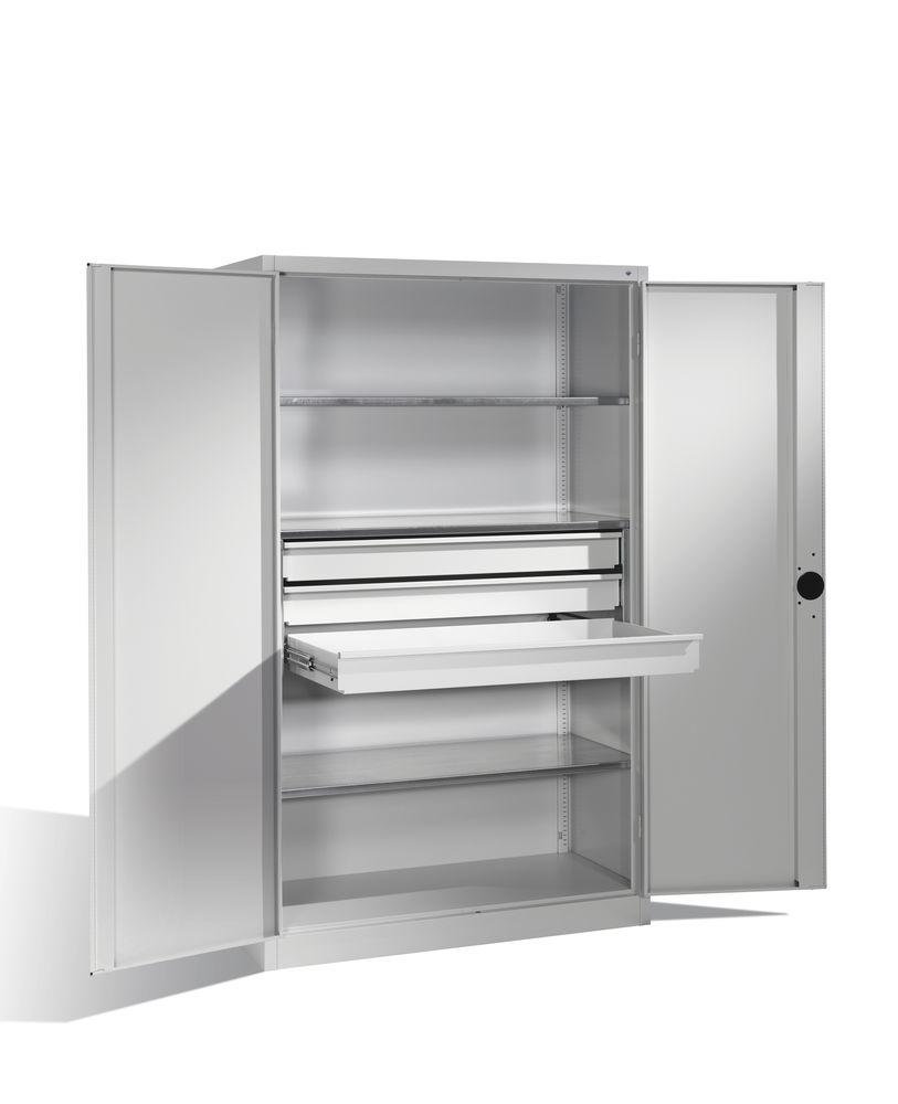 Heavy duty tool storage cabinet Cabo, wing doors, 3 shelves, 3 draws, W 1200, D 600, H 1950 mm, grey