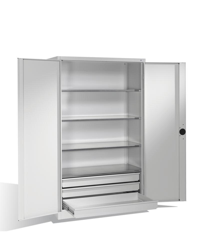 Heavy duty tool storage cabinet Cabo, wing doors, 4 shelves, 3 draws, W 1200, D 500, H 1950 mm, grey